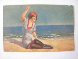 CPA Carte Postale Femme Plage Italie Milan Italien 1919 - Papel Secante