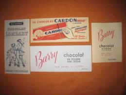 Buvards Chocolat Barry Cardon Cacao Sucre Lombart Lot De 4 - Papel Secante