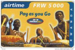 Rwanda, FRW 5000, Airtime, Pay As You Go, Drummers, 2 Scans. - Rwanda