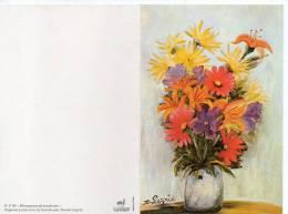 Très Belle Carte , Fleurs , Peint à La Bouche Par Denise Legrix , Non écrite - Fleurs, Plantes & Arbres