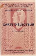 Carte D'Electeur - République Française - REHON - Vieux Papiers