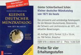 Kleiner Münzkatalog Schön 2013 Neu 15€ Für Numis-Briefe Coin Of Germany Austria Helvetia Liechtenstein 978-3-86646-097-3 - Documents Historiques