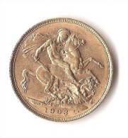GRANDE - BRETAGNE 1 SOUVEREIGN  GOLD/ OR  RARE ! - 1902-1971 : Monnaies Post-Victoriennes