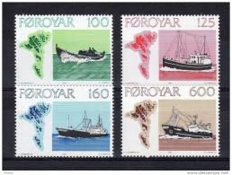 """(cote 15 €) ILES FEROE 1977 N° 18 à 21 NEUFS ** MNH """" NAVIGATION / BATEAUX """" En Parfait état - Färöer Inseln"""