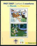 """ITALIA / ITALY 2007 - Europa 2007 """" 100 Anni Di Scautismo"""" - Block MNH Come Da Scansione - 2007"""