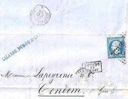 """LALANDE.DUBOS & Cie Vins & Alcools 1859  Cachet """"APRES LE DEPART"""" Bordeaux Pour Condom - France"""
