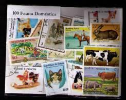 100 SELLOS DE FAUNA DOMESTICA - ANIMAUX DOMESTIQUES - PETS  - (TODOS DIFERENTES) (ALL DIFFERENT) - Sellos