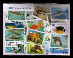 """100 SELLOS DE PECES """"A"""" - POISSONS """"A"""" - FISHES """"A"""" - (TODOS DIFERENTES) (ALL DIFFERENT) - Sellos"""