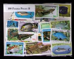 """100 SELLOS DE PECES """"B"""" - POISSONS """"B"""" - FISHES """"B"""" - (TODOS DIFERENTES) (ALL DIFFERENT) - Sellos"""