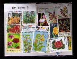 "100 SELLOS DE FLORES ""B"" - FLEURS ""B"" - FLOWERS ""B"" - (TODOS DIFERENTES) (ALL DIFFERENT) - Sellos"