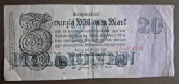 Banknote Papermoney Deutsches Reich Zwanzig Millionen Mark 1923  Bill Germany Billet Allemagne - [ 3] 1918-1933 : Weimar Republic