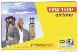 Rwanda, FRW 1500 Airtime, Man And Buildings, Mountain.