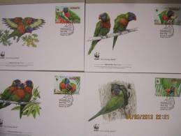 **  WWF  **  MINT  FIRST  DAY  COVERS  (4)    VANUATU  ~~~ 2011  *** RAINBOW LORIKEET *** - W.W.F.