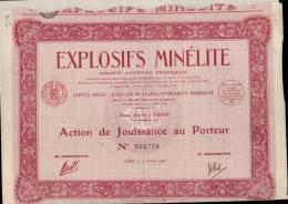 EXPLOSIFS MINELITE , SA FRANCAISE _ ACTION DE JOUISSANCE AU PORTEUR _ 15.10.1928 - Industrie