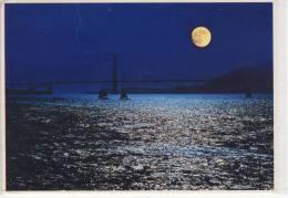 GOLDEN GATE BRIDGE And Sailboats Silhouetted By Moonshine, Mondschein, Lune - Bridges