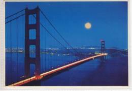 GOLDEN GATE BRIDGE, Pont, Brücke -  In The Moonshine, Mondschein,  With The City In The Background - Bridges