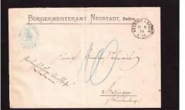 Altbrief Aus Neustadt/Baden V. 1878 Nach Metzingen - Baden