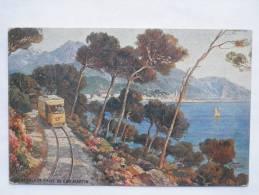 "RARE:  Beau Chromo (N. Biraud):  ""MENTON - Vue Prise Du Cap-Martin""   (tramway) - Menton"