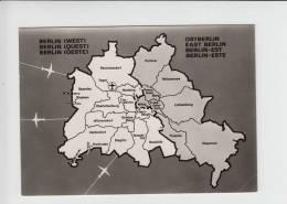 Berlin Germany AIR TRANSPORT Map Postcard (av137) Airplane Rute RARE Border - Flugwesen