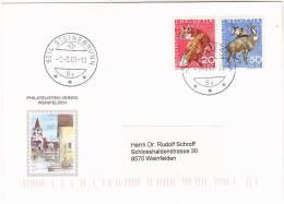 2001 SWITZERLAND Philatelstein Verein Weinfelden Pic Card Pro Juventute 1966 Stamps FOX Etc Pmk Steinbrunn Foxes - Switzerland