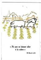 """CPM Humour : """"ne Pas Laisser Aller Sa Colère"""" St Benoit - Dessin Du Frère Armel, Abbaye Ste Anne De Kergonan (56) Cochon - Cochons"""