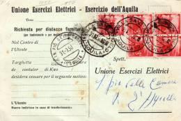 1950 CARTOLINA  CON ANNULLO VILLA S. ANGELO AQUILA + SAN PIO DELLE CAMERE - 1946-.. Republiek