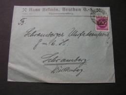 ==  Beuthen Umschlag , Schlesien .. EF 1923 - Germania