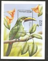 O)1999 NICARAGUA, TUCAN GREEN, BIRD, SOUVENIR MNH. - Nicaragua