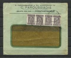Greece 1922 Cover  Strip Of 4 Paroussiadis Constantinople - Covers & Documents