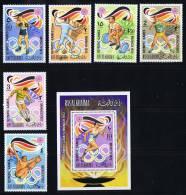 1970 Jeux Olympiques De Munich  Boxe, Escrime, Haltérophilie, Football, Plongeon, Course Michel 649-54 Bloc 116A * - Ra's Al-Chaima
