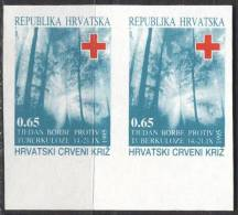 CROATIA  - HRVATSKA - ERROR - IMPERF. - RED CROSS + TBC - TREES - **MNH - 1993 - Croacia