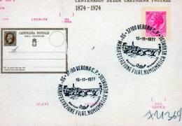 CARTOLINA POSTALE  ITALIANA-CENTENARIO DELLA CARTOLINA POSTALE-VERONA 19-11-1977-VERONA NUMISMATICA - 6. 1946-.. Repubblica