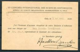 1928 Norway Oslo 20 Ore Brevkort Stationery Postcard International Science Congress