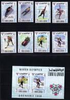 1968  Jeux Olympiques De Grenoble Ski, Luge, Bobsled, Patin, Hockey  Michel 233-40 Bloc 12 * - Umm Al-Qaiwain
