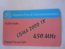 Myanmar Birmanie Burma Birma CDMA 2000 1X 450 MHz 10000 KYATS Mobile GSM Prepaid TOP UP Card EXP: 10.04.2013