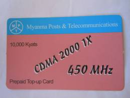 Myanmar Birmanie Burma Birma CDMA 2000 1X 450 MHz 10000 KYATS Mobile GSM Prepaid TOP UP Card EXP: No Date