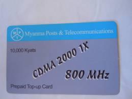 Myanmar Birmanie Burma Birma CDMA 2000 1X 800 MHz 10000 KYATS Mobile GSM Prepaid TOP UP Card EXP: 10.03.2013