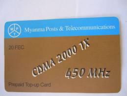 Myanmar Birmanie Burma Birma CDMA 2000 1X 450 MHz 20 FEC Mobile GSM Prepaid TOP UP Card EXP: No Date - Myanmar