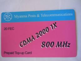 Myanmar Birmanie Burma Birma CDMA 2000 1X 800 MHz 20 FEC Mobile GSM Prepaid TOP UP Card EXP: No Date - Myanmar