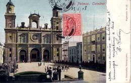 ESPAGNE-DE LAS PALMAS -TIMBRE ANGLAIS OBLITERATION PAQUEBOT PLYMOUTH 3-5-1908-CARTE POSTALE POUR LA FRANCE. - Cartas