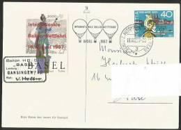 BASEL 2000 Jahre Internat. Ballon Wettfahrt Mit Vignette Und Sonderstempel Landung Gansingen AG 1957 - Montgolfières
