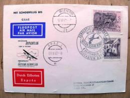 Card From Austria 1962 Cancel Plane Avion Flughafen Aeroclub Tag Der Breifmarke - 1945-.... 2nd Republic