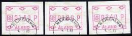 ALAND ISLANDS 1988 ATM Labels Set Of 3 Values Used  Michel 2 - Aland