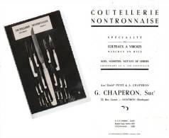 CATALOGUE COUTEAUX NONTRON PETIT § CHAPERON 33 RUE CARNOT + CARTE POSTALE COUTEAUX PHOTOCOPIE - Publicités