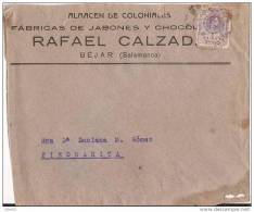 ESCA273-LC219.Spain.Espagne. CARTA  PUBLICITARIA DE BEJAR(Salamanca) A PIEDRAHITA(Avila).1921.(E D 273).MUY BONITA - Chocolat