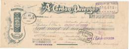 219/20 - Mandat à Ordre Illustré CAMBRAI 1910 - Entete Chicorée Cardon Duverger - TP Fiscal  10 C. - Steuermarken
