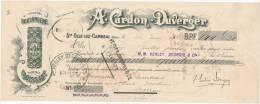 220/20 - Mandat à Ordre Illustré STE OLLE Lez CAMBRAI 1910 - Entete Chicorée Cardon Duverger - TP Fiscal  10 C. - Steuermarken