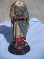 - STATUETTE DE ROI DE FRANCE EN TERRE CUITE PEINTE . SIGNEE SUR LE SOCLE F.D. MONNA TOULOUSE  . XIXe S. - Sculptures
