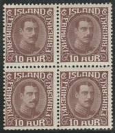 ISLANDIA 1931/34 - Yvert #148 - MNH ** (Very Rare In Block Of 4) - Neufs