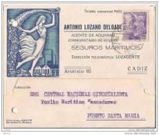 ESTA867-LT105TPUPO.CARTA TARJETA PUBLICITARIA Agente De Aduanas,DE CADIZ A PUERTO DE STA MARIA.1941,(Ed 867).MUY BONITA - Otros